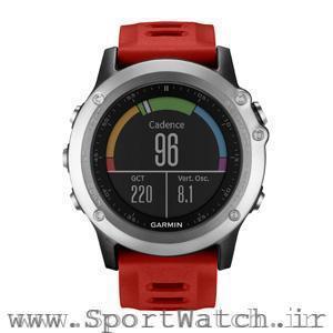 ساعت گارمین Fenix3نقره ای با بند قرمز