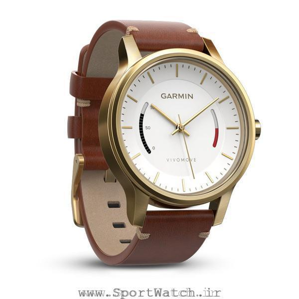 ساعت گارمین Vivomove Premium Gold tone Steel Leather Band