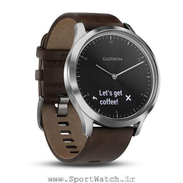 VivoMove HR Silver with Dark Brown Leather Band
