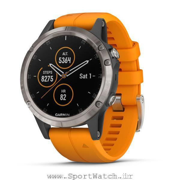 Fenix 5 Plus Sapphire Titanium with Solar Flare Orange Band