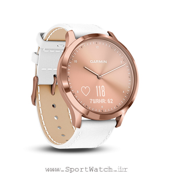 ساعت گارمین ویومو اچ آر 18K Rose Gold PVD Stainless Steel Case with White Italian Leather Band