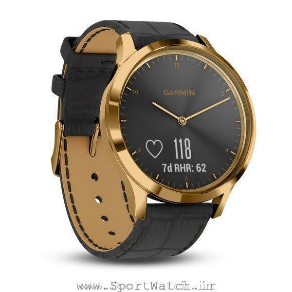 VivoMove HR 24K Gold PVD Stainless Steel Case with Black Embossed Italian Leather Band