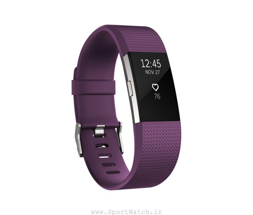 ساعت هوشمند فیت بیت Fitbit charge2 plum silver
