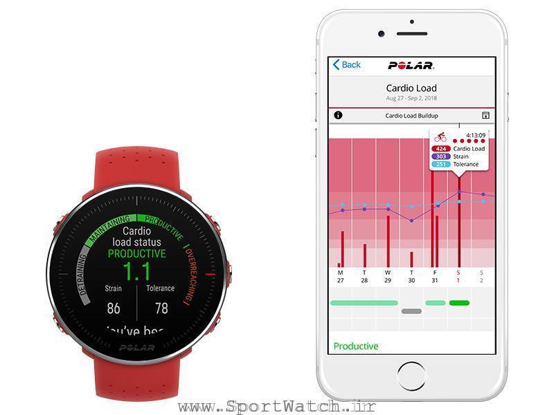 ساعت پلار ونتیج ام و برنامه کاربردی پلار روی موبایل