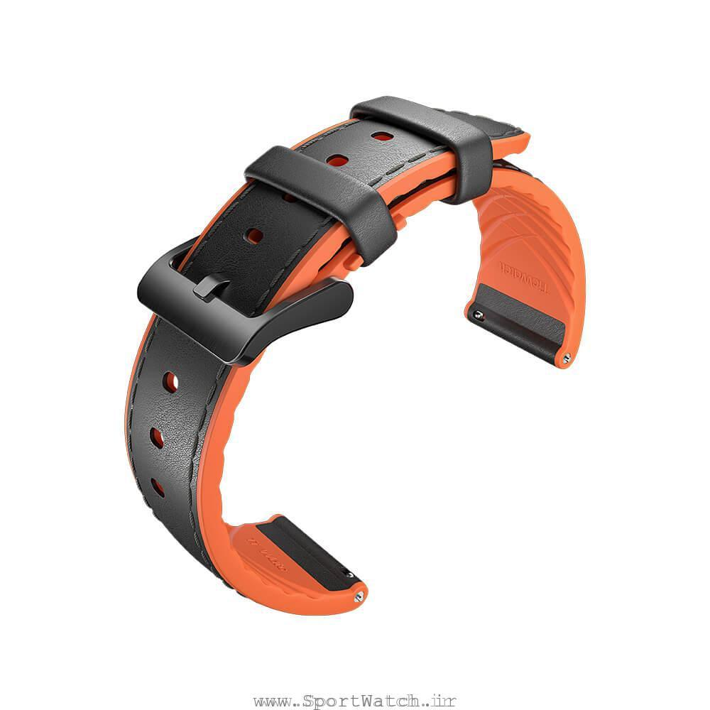 TicWatch Pro Black Orange hybrid leather Strap