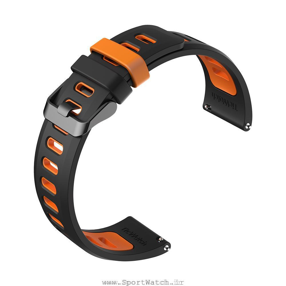 TicWatch Pro Silicone Strap Black Orange