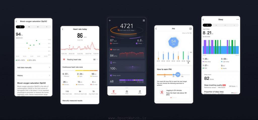 بهینه سازی مدیریت داده های سلامت Amazfit GTR 2e