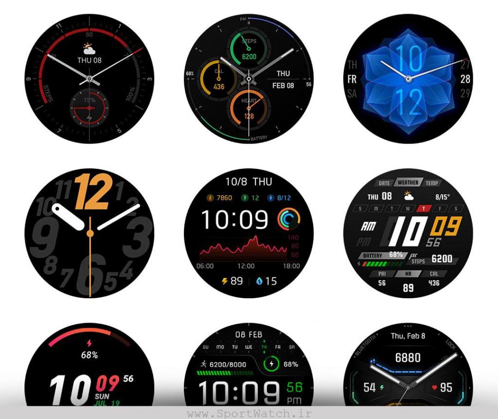 صفحه نمایش های ساعت آمازفیت GTR 2e